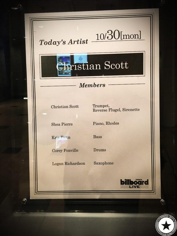 Christian Scott Oct.30.2017 ビルボード大阪 – クリスチャン・スコットを観てきました!の画像2枚目
