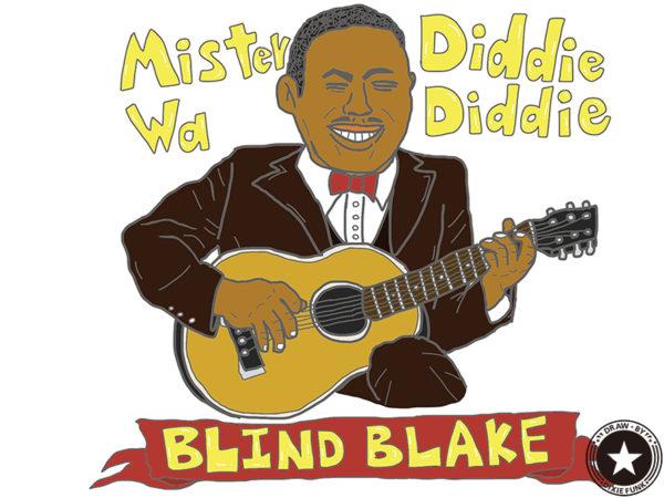 "BLIND BLAKE - ""Diddie Wa Diddie"" iPadで描いたブラインド・ブレイクの絵の画像"