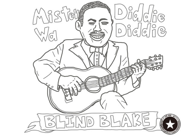 "BLIND BLAKE - ""Diddie Wa Diddie"" iPadで描いたブラインド・ブレイクの下絵の画像"