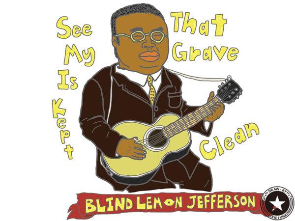 """BLIND LEMON JEFFERSON - """"See That My Grave Is Kept Clean"""" iPadで描いたブラインド・レモン・ジェファーソンの絵の画像"""