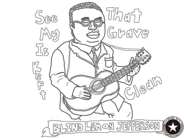"""BLIND LEMON JEFFERSON - """"See That My Grave Is Kept Clean"""" iPadで描いたブラインド・レモン・ジェファーソンの下絵の画像"""