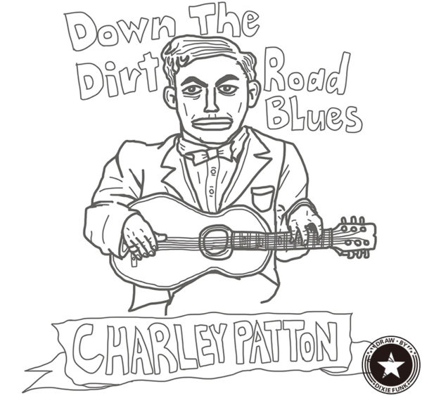 "CHARLEY PATTON - ""Down The Dirt Road Blues"" iPadで描いたチャーリー・パットンの下絵の画像"