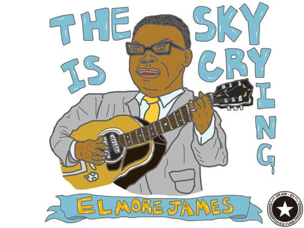 "ELMORE JAMES - ""THE SKY IS CRYING"" iPadで描いた伝説のブルースマン『ELMORE JAMES(エルモア・ジェームス)』の絵の画像"