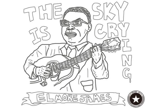 "ELMORE JAMES - ""THE SKY IS CRYING"" iPadで描いた伝説のブルースマン『ELMORE JAMES(エルモア・ジェームス)』の下絵の画像"