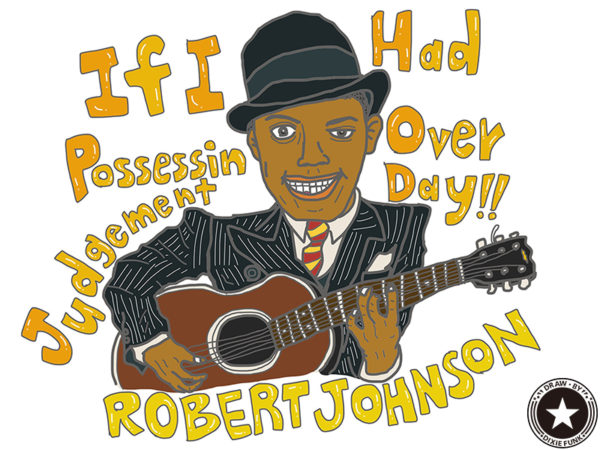 "ROBERT JOHNSON - ""If I Had Possession Over Judgment Day"" iPadで描いた伝説のデルタ・ブルースマン『Robert Johnson(ロバート・ジョンソン)』の絵の画像"