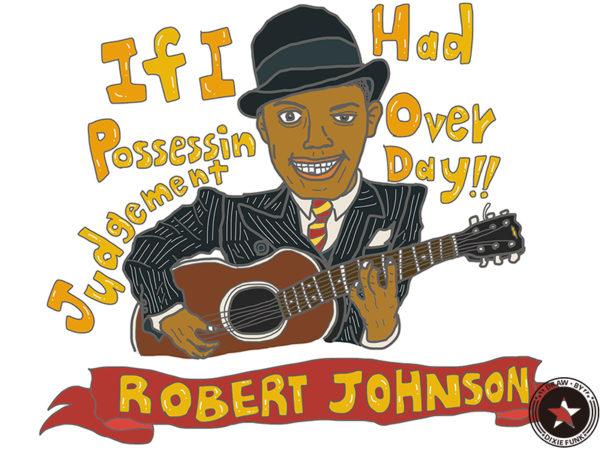 "ROBERT JOHNSON - ""If I Had Possession Over Judgment Day"" iPadで描いた伝説のデルタ・ブルースマン『Robert Johnson(ロバート・ジョンソン)』のステッカー用の絵の画像"
