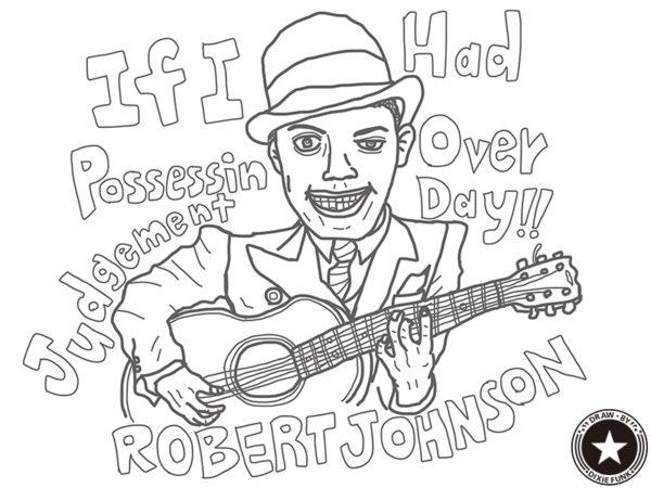 "ROBERT JOHNSON - ""If I Had Possession Over Judgment Day"" iPadで描いた伝説のデルタ・ブルースマン『Robert Johnson(ロバート・ジョンソン)』の下絵の画像"