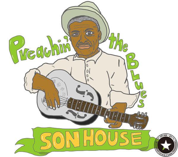 "SON HOUSE - ""Preachin' the Blues"" iPadで描いたサン・ハウスの絵の画像"