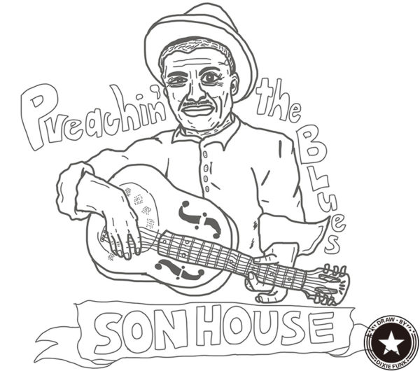 "SON HOUSE - ""Preachin' the Blues"" iPadで描いたサン・ハウスの下絵の画像"