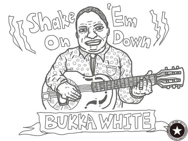 "Bukka White - ""Shake 'Em On Down"" iPadで描いたブッカ・ホワイトの下絵の画像"
