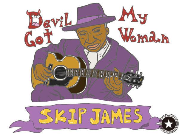 "Skip James - ""Devil Got My Woman"" iPadで描いたスキップ・ジェイムスの絵の画像"
