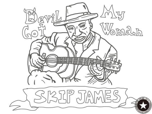 "Skip James - ""Devil Got My Woman"" iPadで描いたスキップ・ジェイムスの下絵の画像"