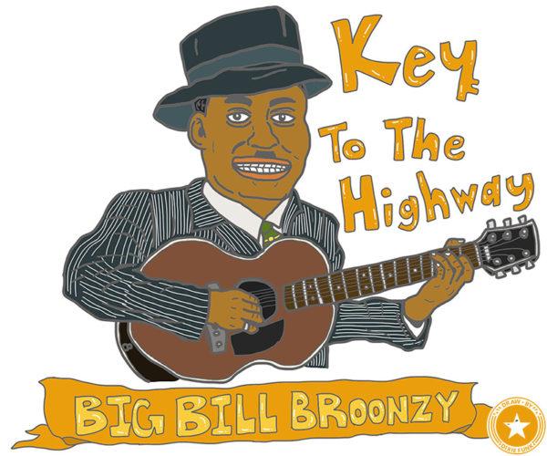 """Big Bill Broonzy - """"Key To The Highway"""" iPadで描いたビッグ・ビル・ブルーンジーの絵の画像"""
