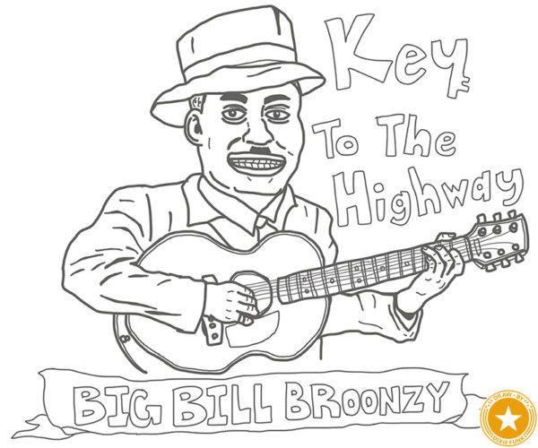 """Big Bill Broonzy - """"Key To The Highway"""" iPadで描いたビッグ・ビル・ブルーンジーの下絵の画像"""