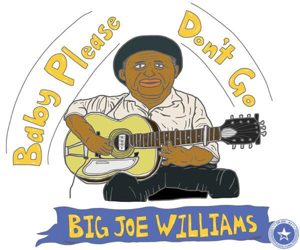 "Big Joe Williams - ""Baby Please Don't Go"" iPadで描いたビッグ・ジョー・ウィリアムスの絵の画像"