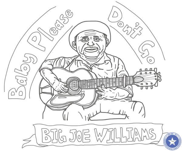 "Big Joe Williams - ""Baby Please Don't Go"" iPadで描いたビッグ・ジョー・ウィリアムスの下絵の画像"