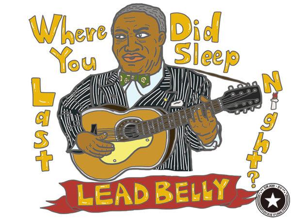 "Leadbelly - ""Where Did You Sleep Last Night?"" iPadで描いたレッドベリーの絵の画像"