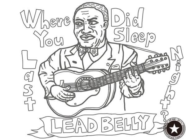 "Leadbelly - ""Where Did You Sleep Last Night?"" iPadで描いたレッドベリーの下絵の画像"