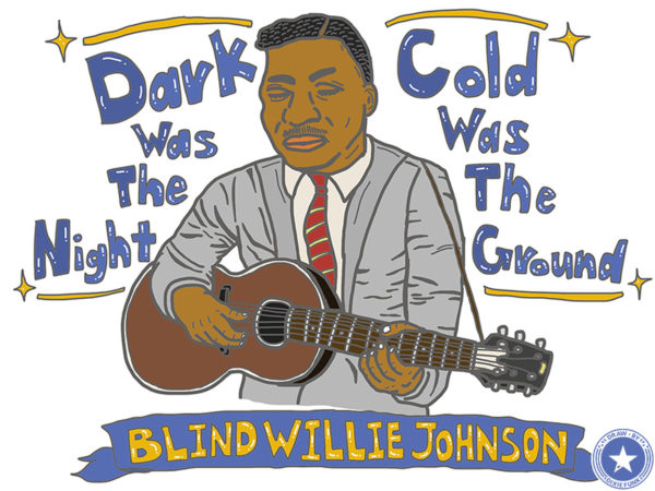 "Blind Willie Johnson - ""Dark Was The Night Cold Was The Ground"" iPadで描いたブラインド・ウィリー・ジョンソンの絵の画像"