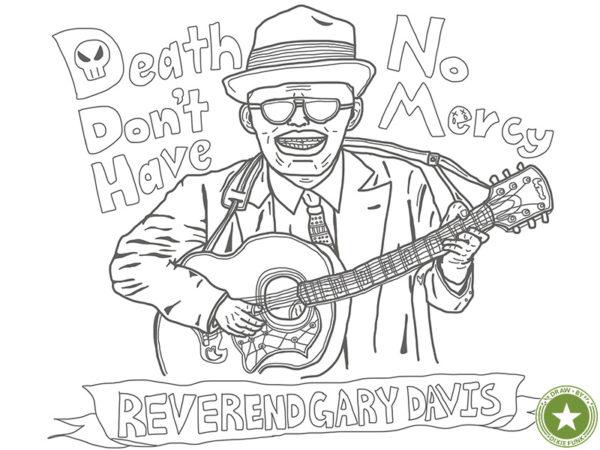 "Reverend Gary Davis - ""Death Don't Have No Mercy"" iPadで描いたレヴァランド・ゲイリー・デイヴィスの下絵の画像"