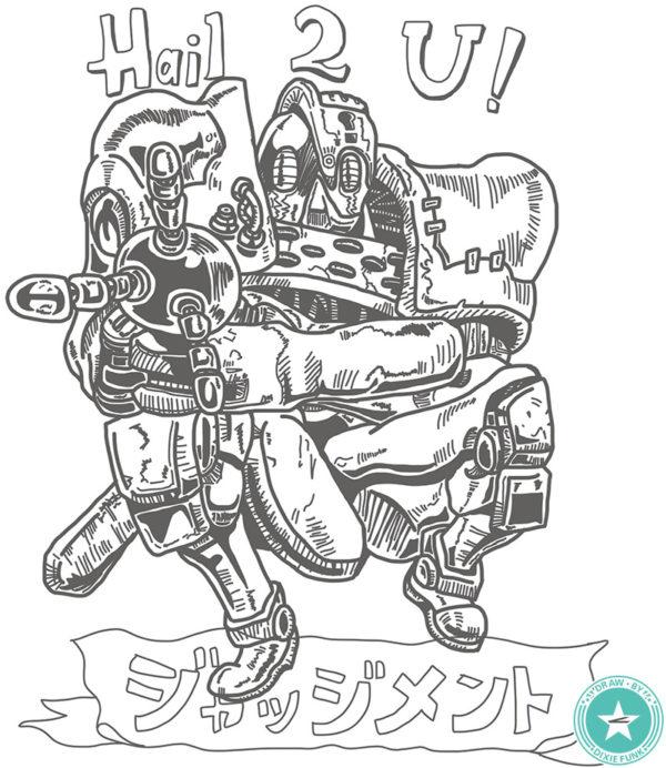 『デザインが好きなジョジョのスタンド』⑪ ジャッジメントのiPad絵の下絵の画像です。
