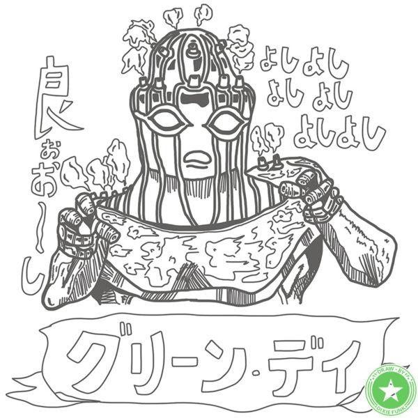 『デザインが好きなジョジョのスタンド』⑮ グリーン・デイのiPad絵の下絵の画像です。