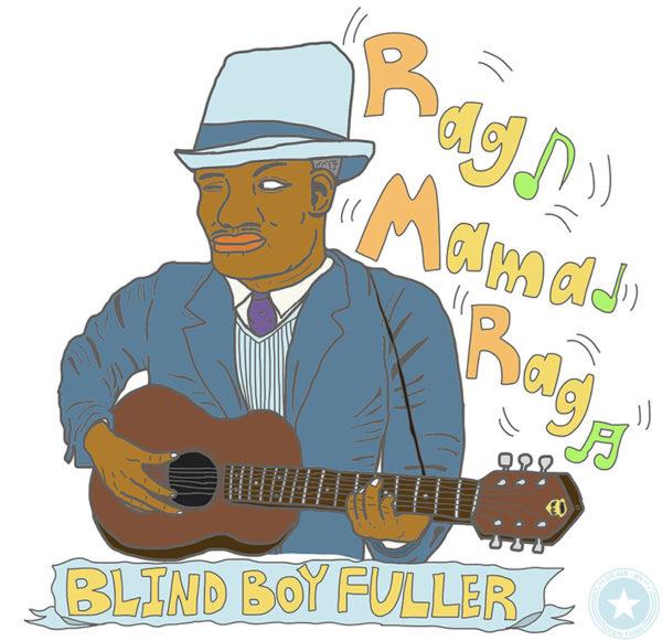 "Blind Boy Fuller - ""Rag Mama Rag"" iPadで描いたブラインド・ボーイ・フラーのイラストの画像"