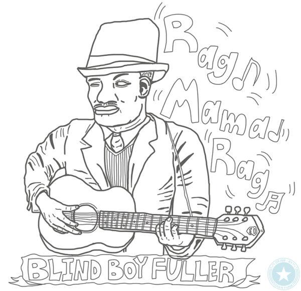 "Blind Boy Fuller - ""Rag Mama Rag"" iPadで描いたブラインド・ボーイ・フラーの下絵のイラスト画像"