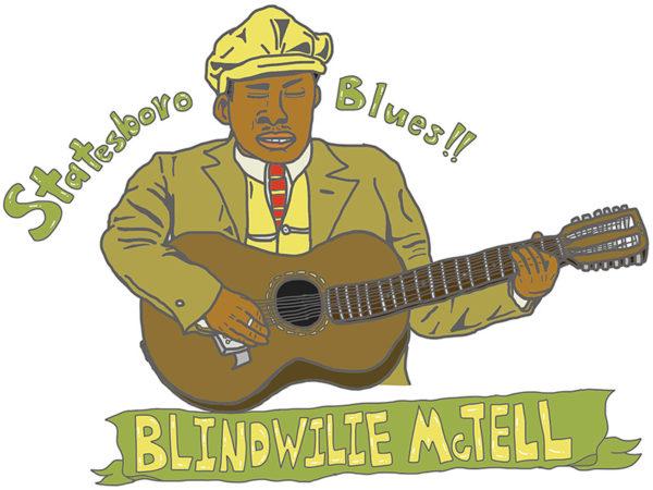 """Blind Willie McTell - """"Statesboro Blues"""" iPadで描いたブラインド・ウィリー・マクテルのイラストの画像"""