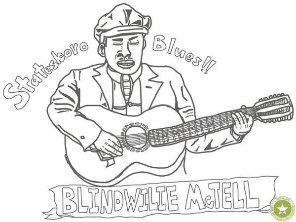 """Blind Willie McTell - """"Statesboro Blues"""" iPadで描いたブラインド・ウィリー・マクテルの下絵のイラスト画像"""