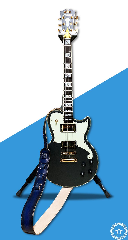 ディアンジェリコのギターに合った『ギターストラップ専門店 Grande uomo』さんの青いギター・ストラップの写真3枚目